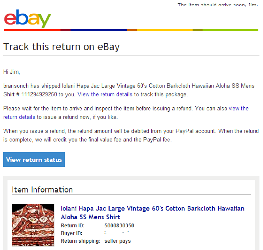 ... eBay labels, tracking is automatically uploaded to the Returns flow and  the tracking is available in real time for the buyer, seller, and eBay to  view.