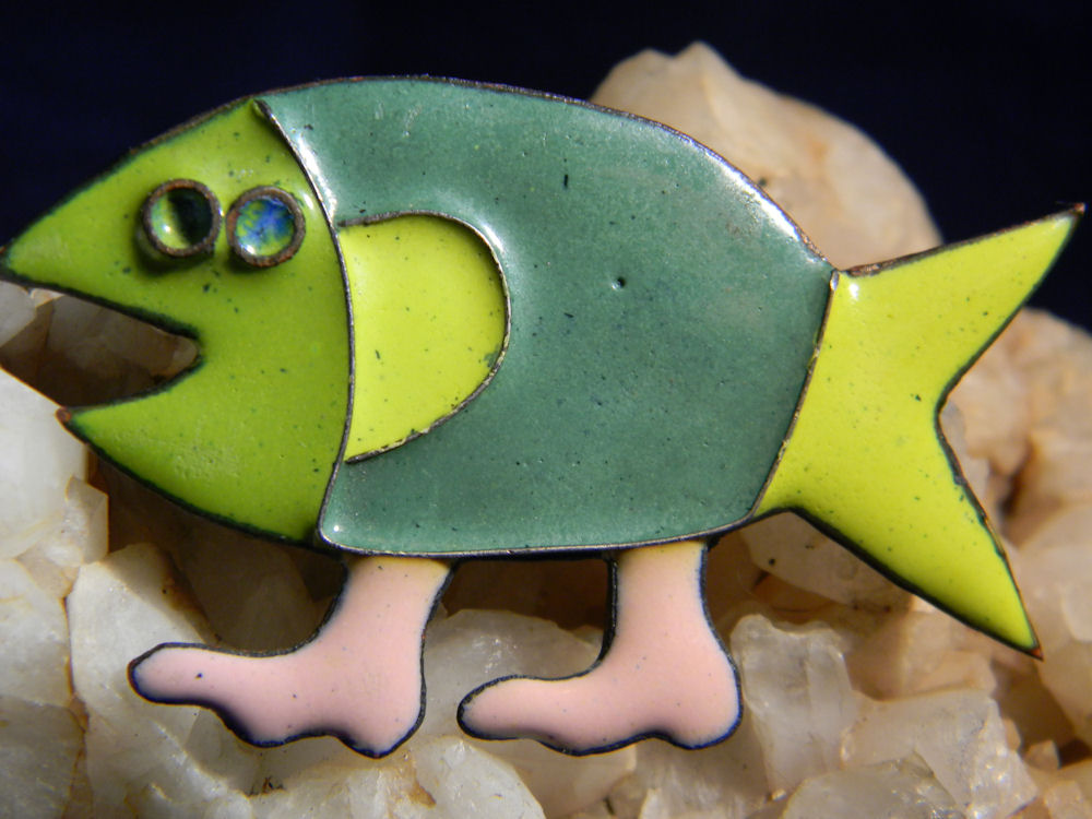 fish with feet enamel copper brooch the ebay community