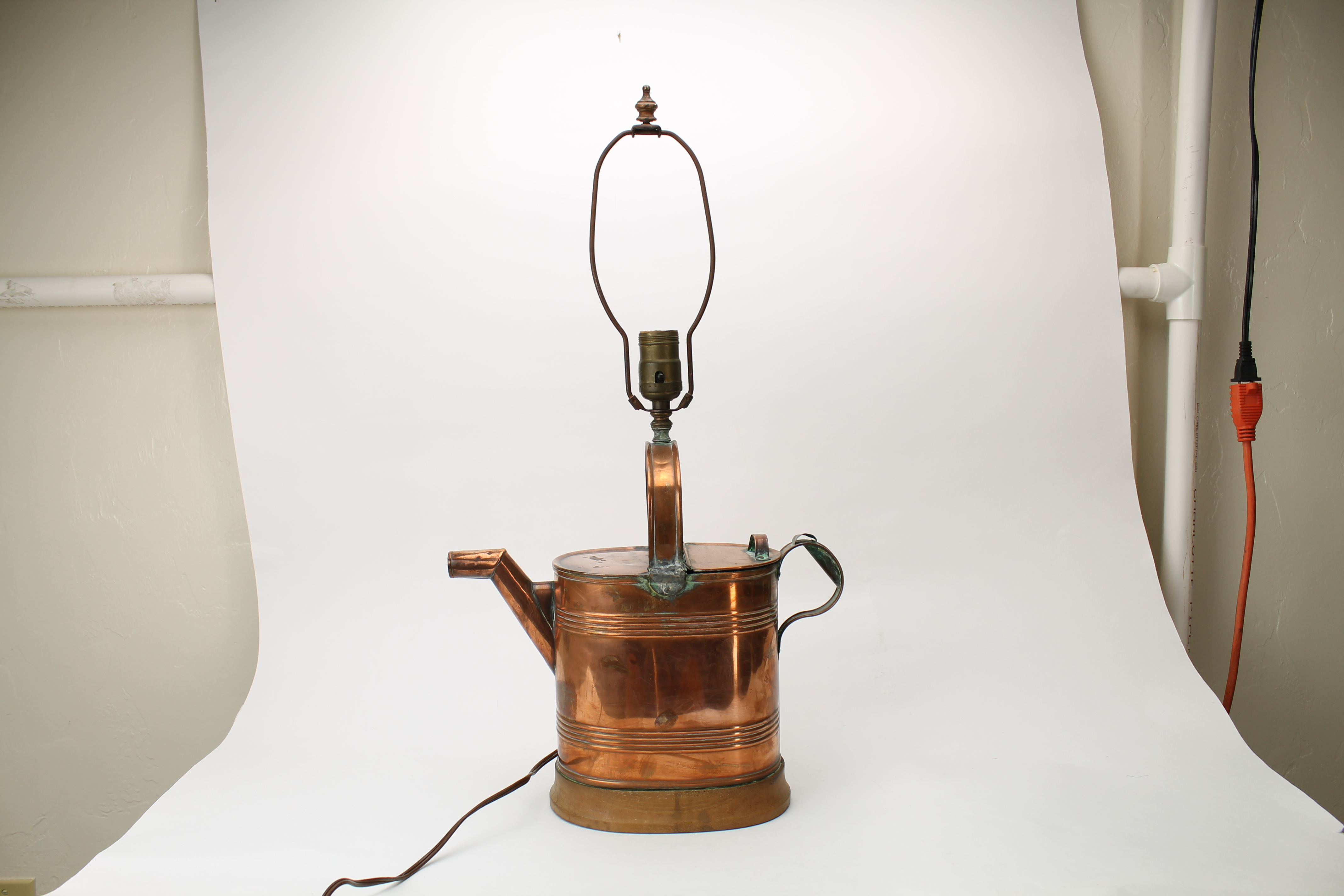 Copper Watering Can Lamp, Wood Base, Hand Made or ...