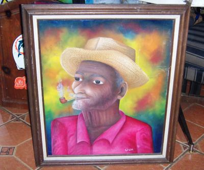 AA ART _ PAINTING HAITIAN MAN SMOKING PIPE SISIE 1AA.jpg