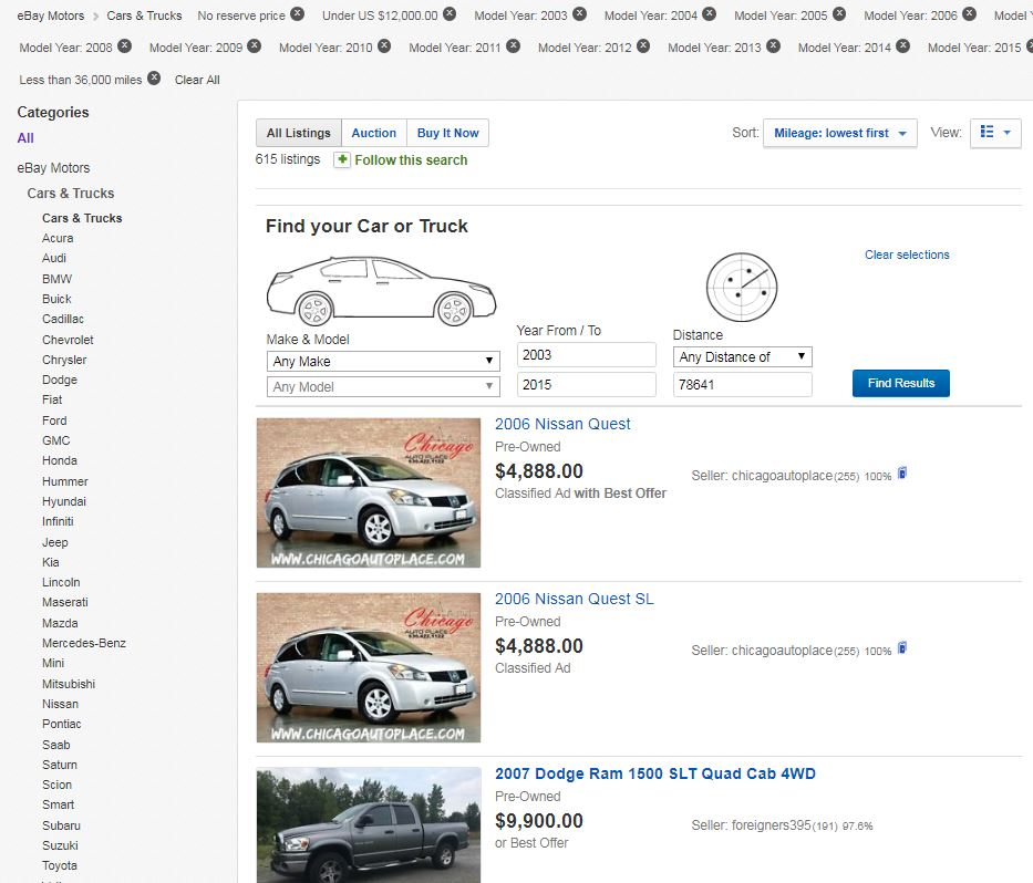 Mileage of Vehicle not Displayed in Search Results... - The eBay ...