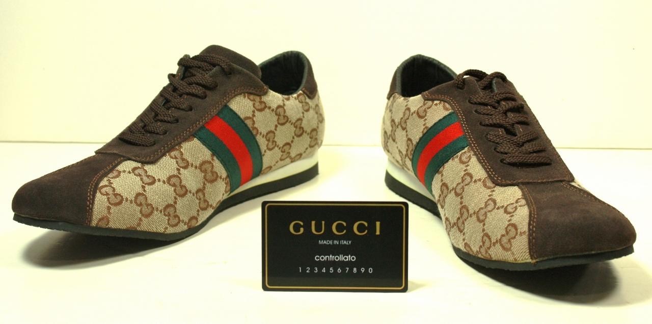 7577b299f80 Gucci Logo 91833 Green Red Web Stripe Sneakers Shoes sz 11 M (1).