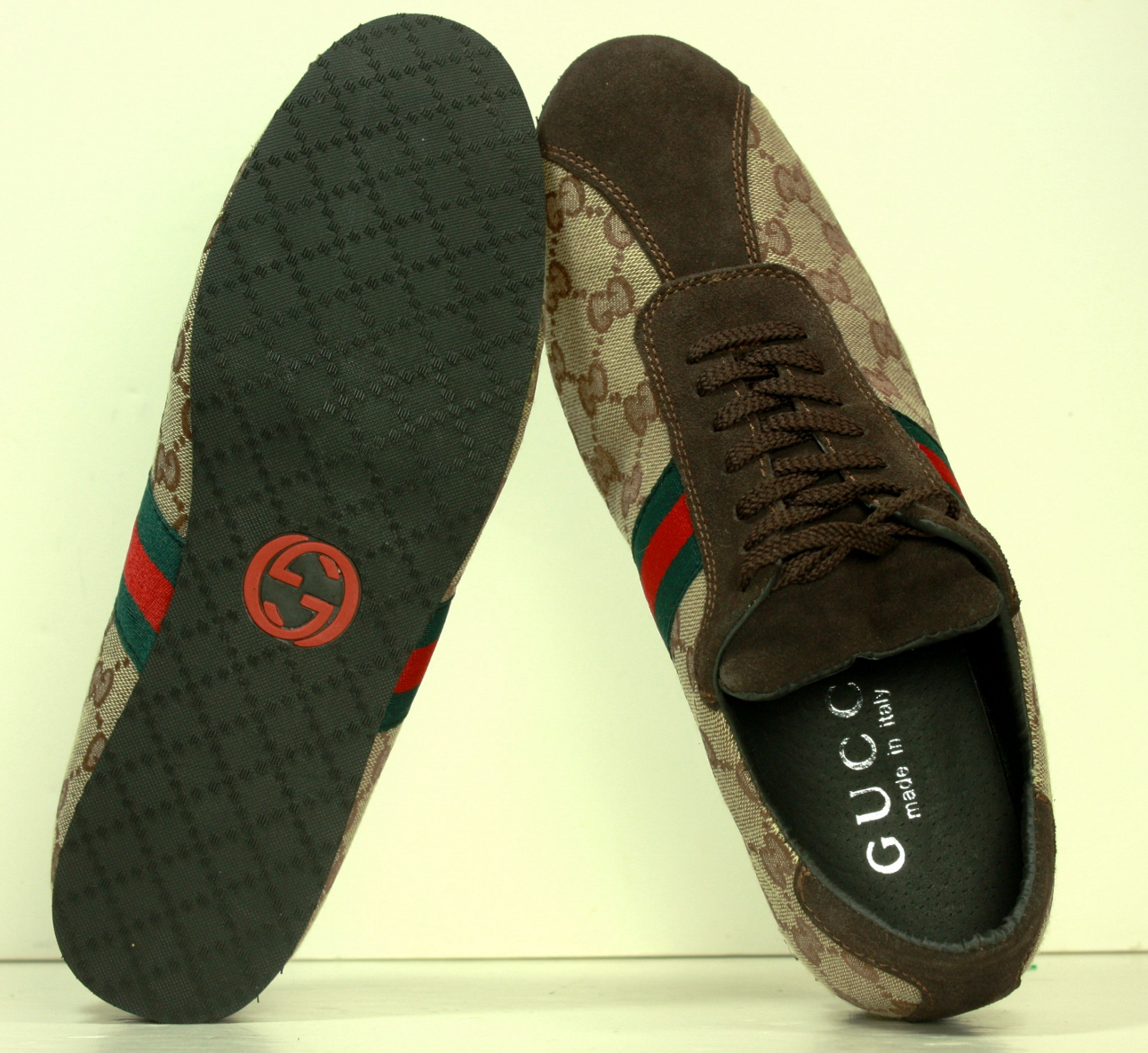 1898c562610 Gucci Logo 91833 Green Red Web Stripe Sneakers Shoes sz 11 M (3).