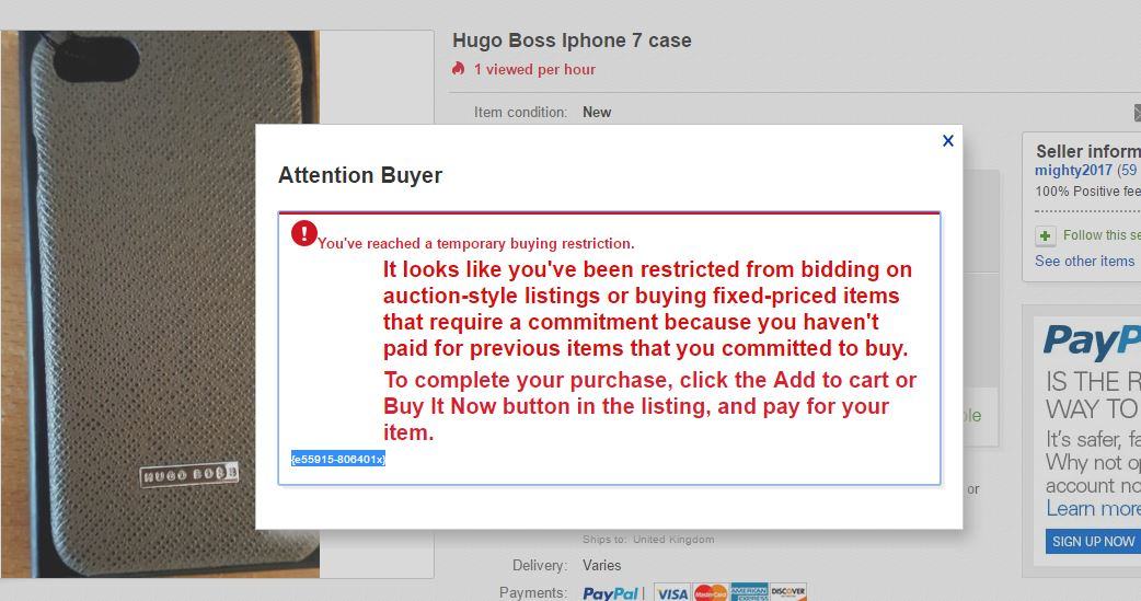 Reaching A Temporary Buying Restriction The Ebay Community
