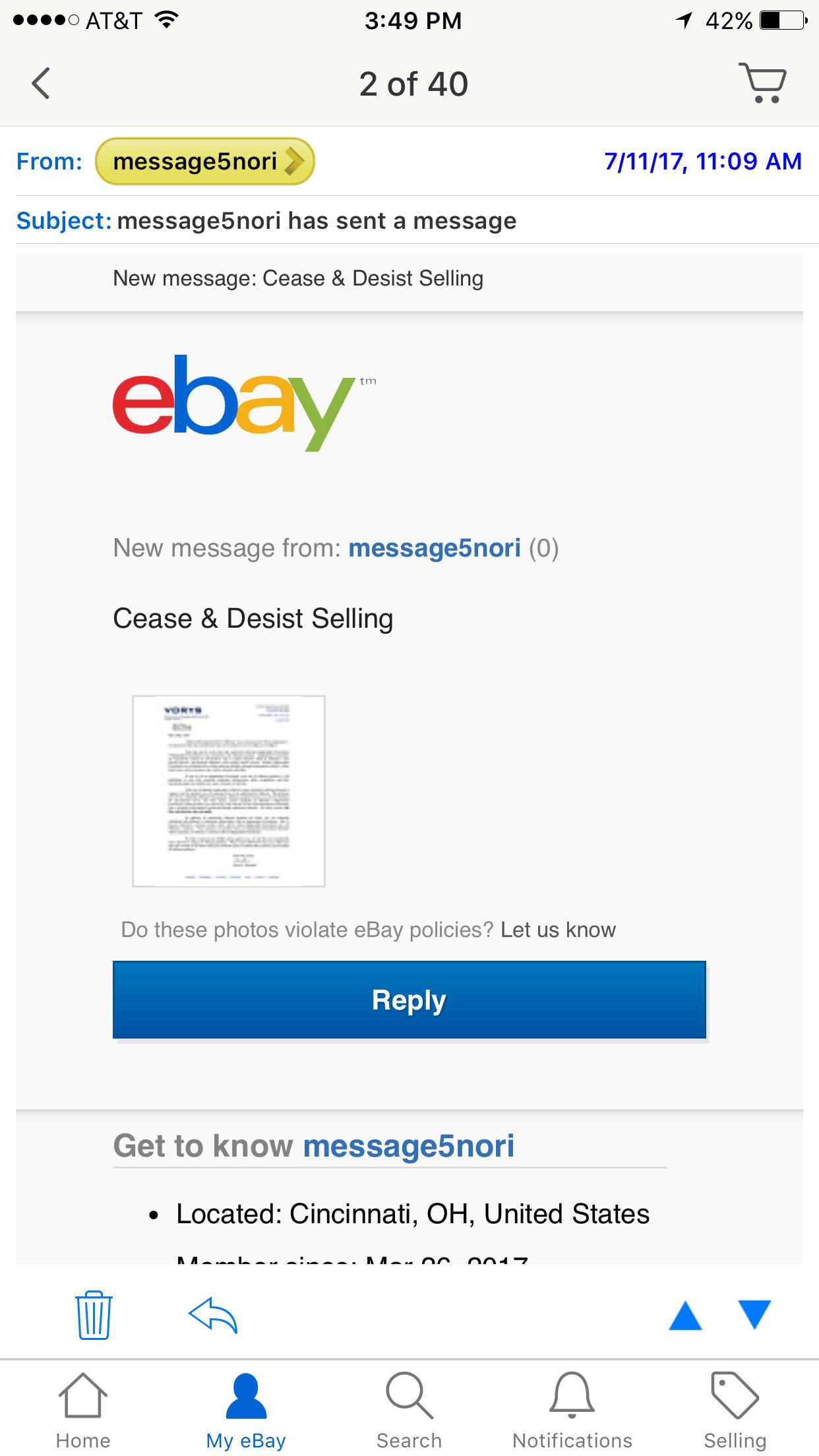 Vorys cease & desist letter for arbonne lotion i p The eBay