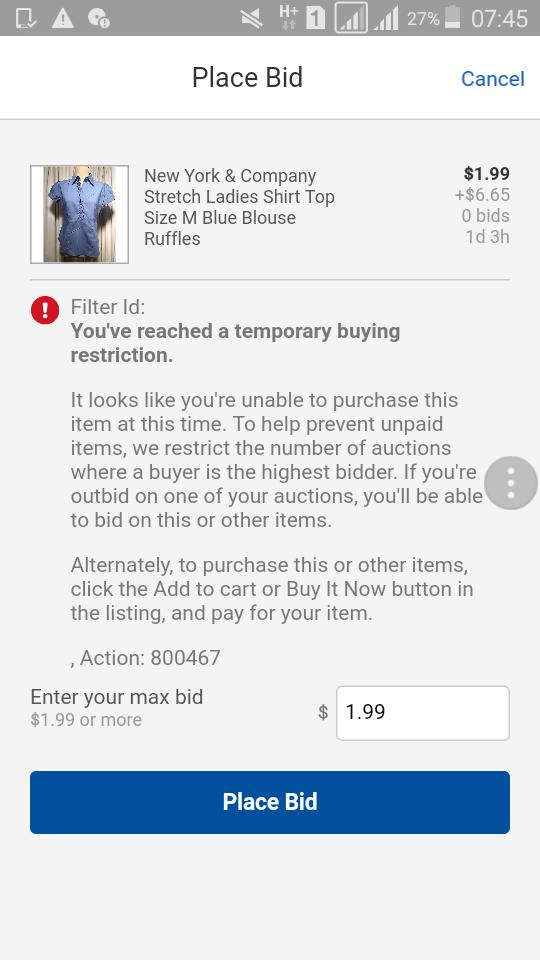 Temporary Buying Restriction The Ebay Community