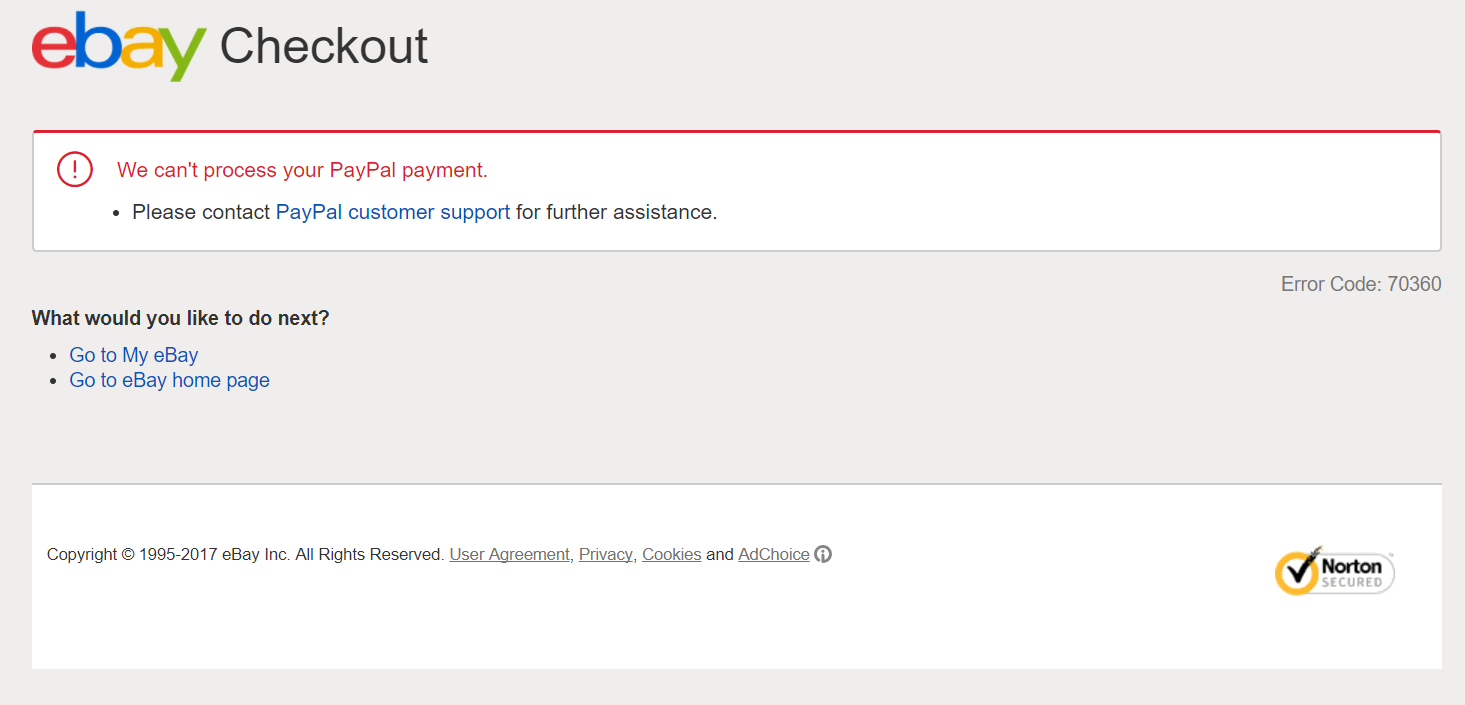Error Code: 70360 - We can't process your PayPal p    - The