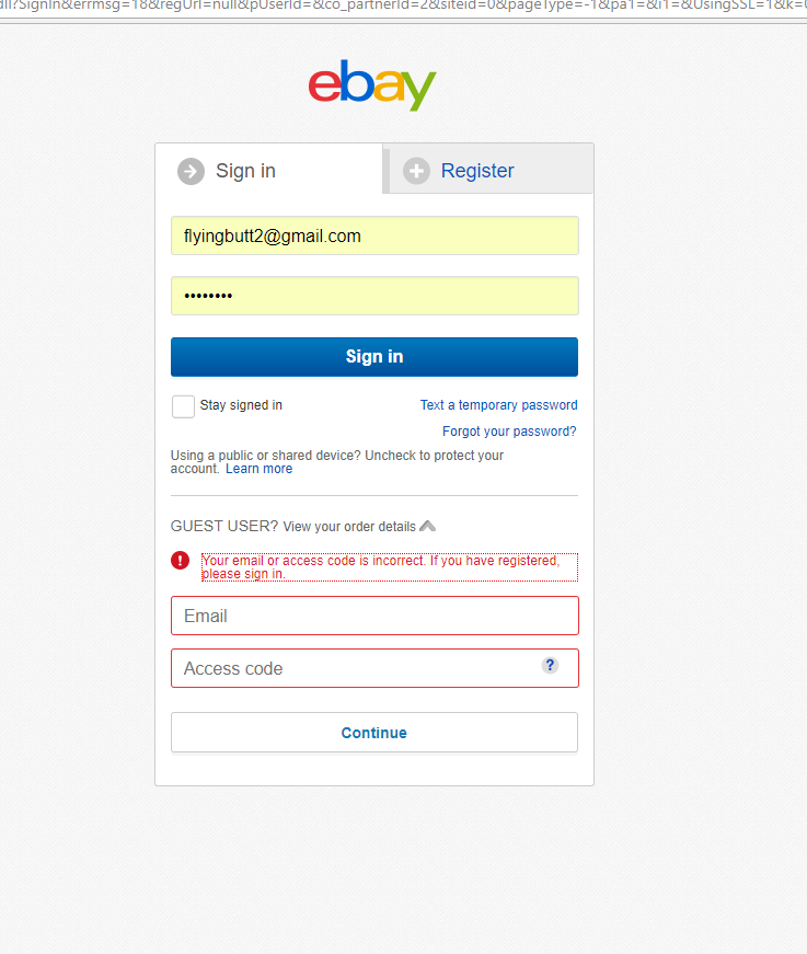 I Cant Log In To My Guest Account The Ebay Community