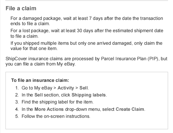 Lost Package Claim The Ebay Community