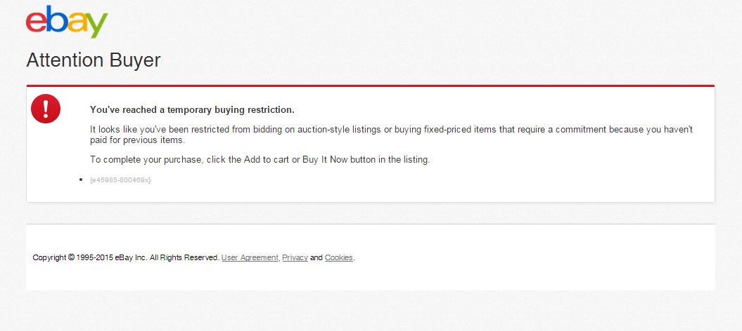 You Ve Reached A Temporary Buying Restriction The Ebay Community