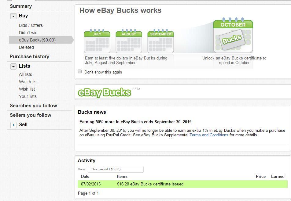 Question About Ebay Bucks The Ebay Community