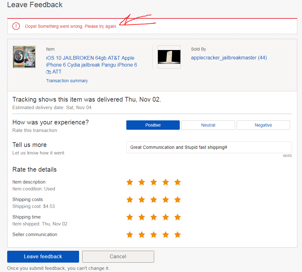 Solved: Why can't I leave feedback? - The eBay Community