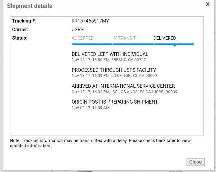 Solved: Customer didn't recieved item shipped,but tracker