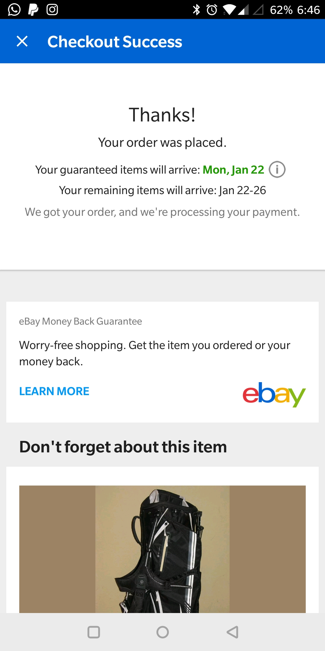 Not showing my order details on ebay after money b    - The