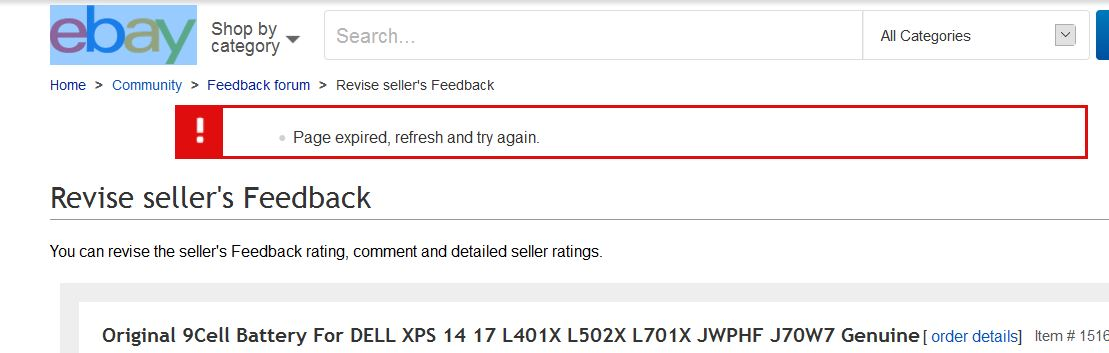 Feedback Re Evaluation Fails Page Expired Ref The Ebay Community