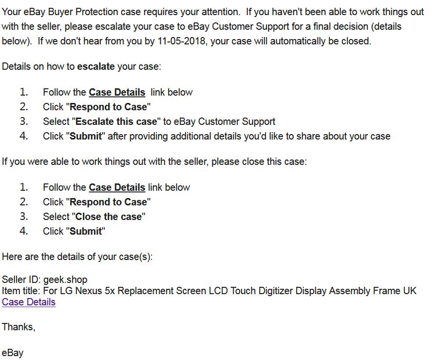 Didn T Receive Item Neither Got A Refund The Ebay Community