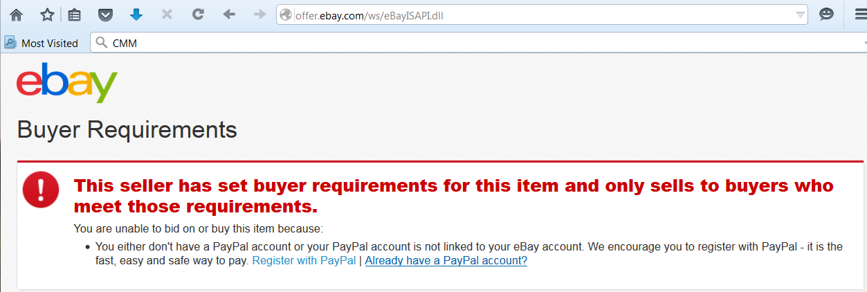 Why Can T I Bid Without A Linked Paypal Account The Ebay Community