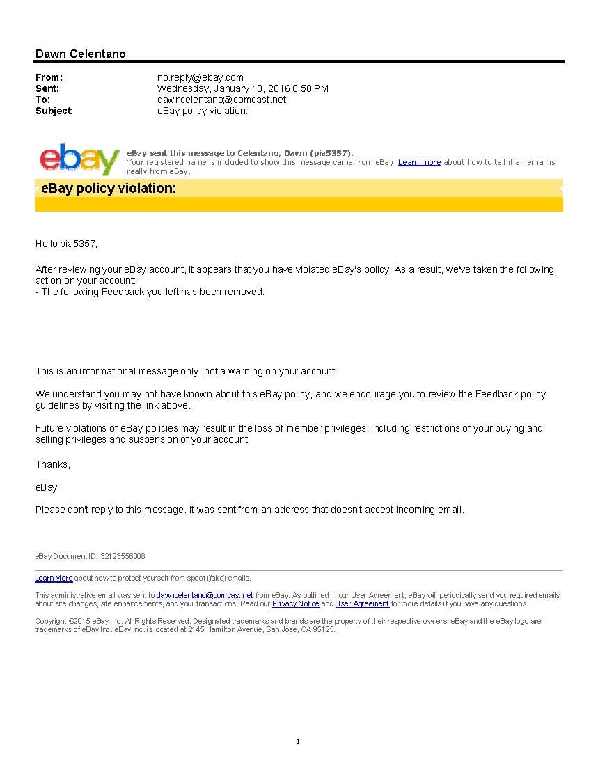 Ebay Policy Violation Email The Ebay Community