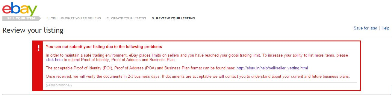 Cannot Submit ListingYou Can Not Submit Your L The EBay - Ebay business plan template