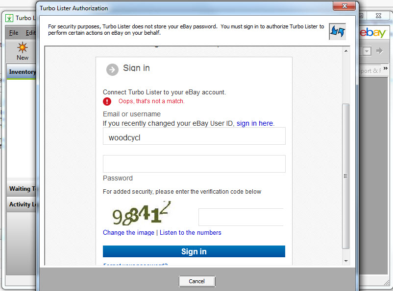 Unable To Login To Ebay In Turbolister 2 Oops The Ebay
