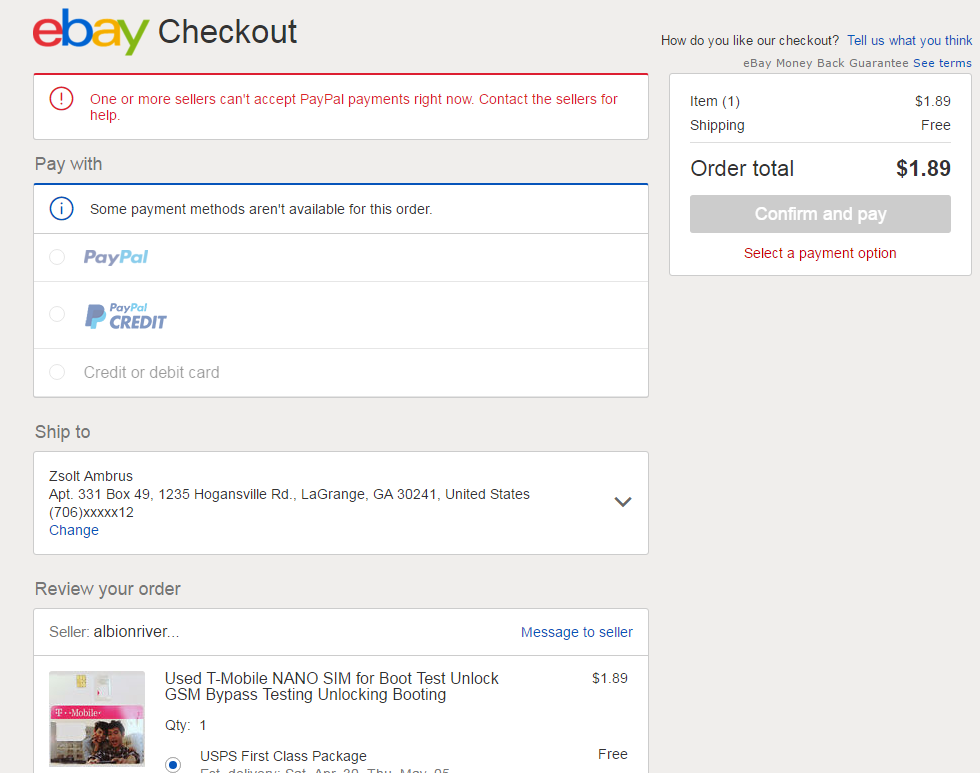 Cant use paypal credit on ebay