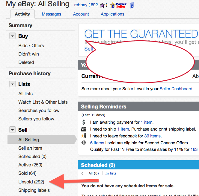 Seller Hub Unsold Link Displays All Items Very The Ebay Community