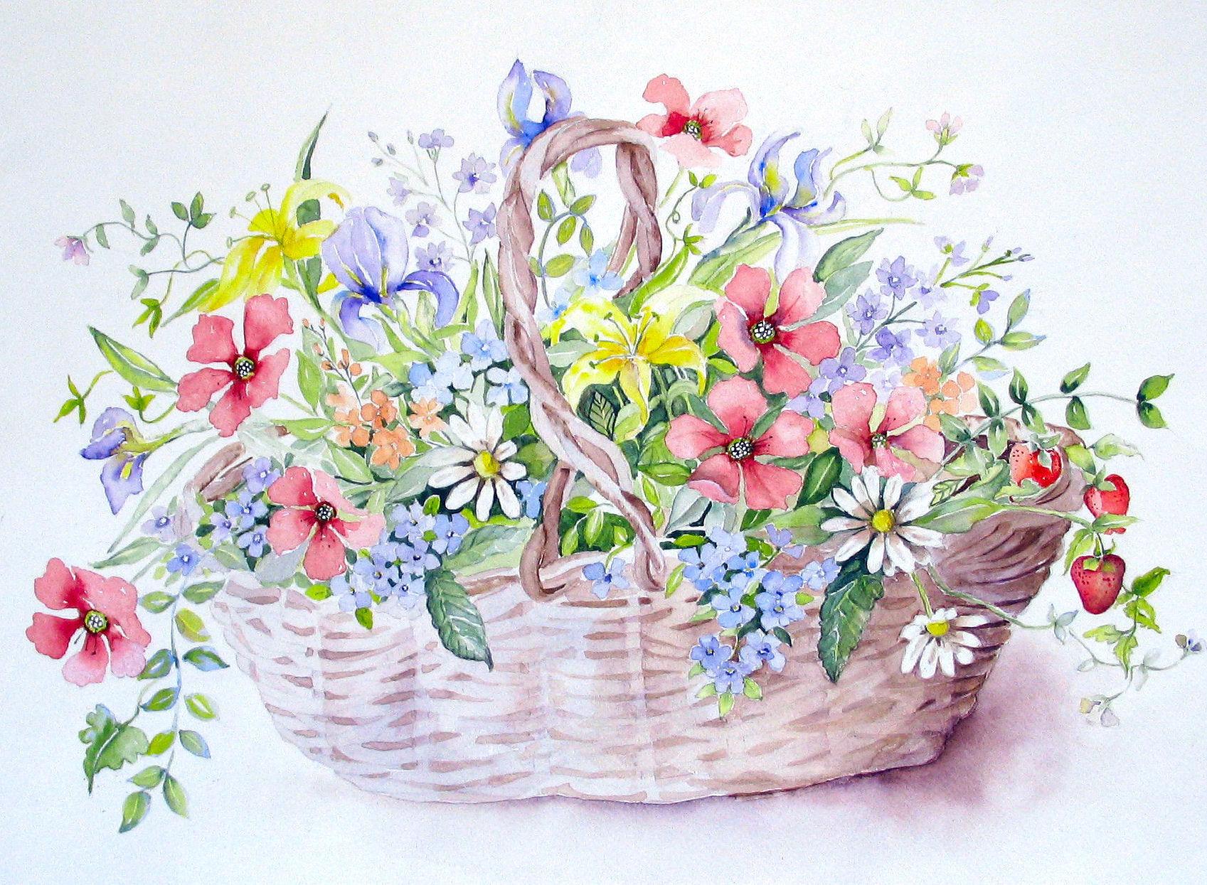 Днем рождения, цветы в корзинке картинки нарисованные