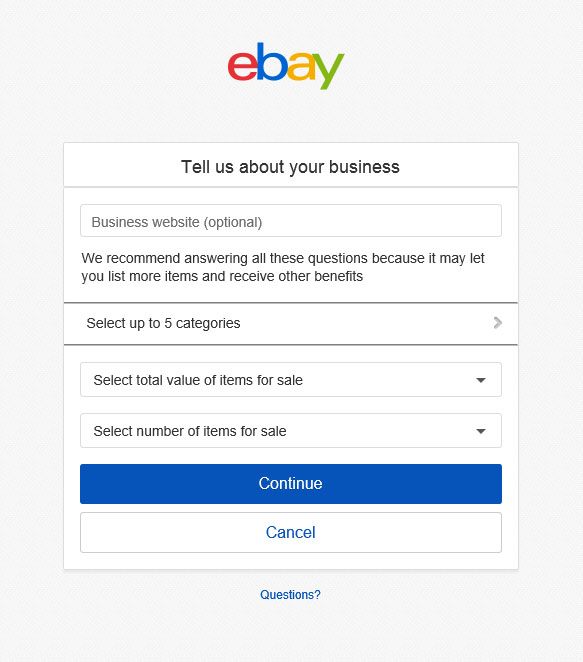 Form Tell Us About Your Business The Ebay Community