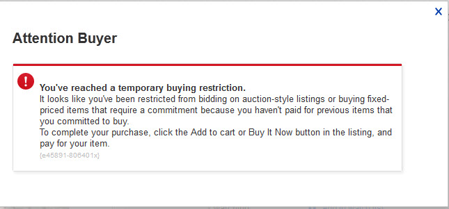 My Acount Is Restricted To Bid Or Make Offer The Ebay Community
