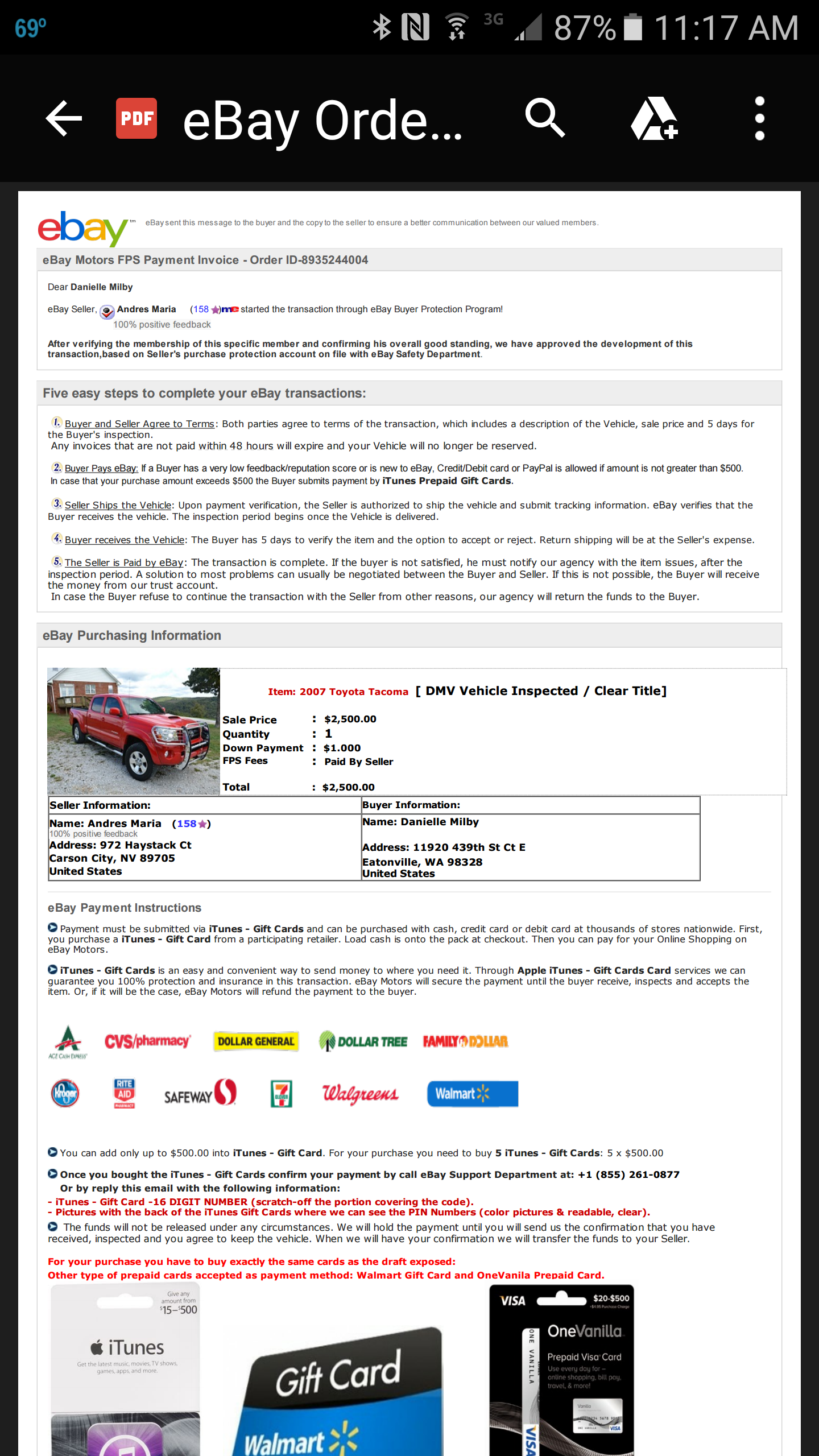 Ebay Motors Vpp Scam They Want Me To Pay In Itunes The Ebay Community