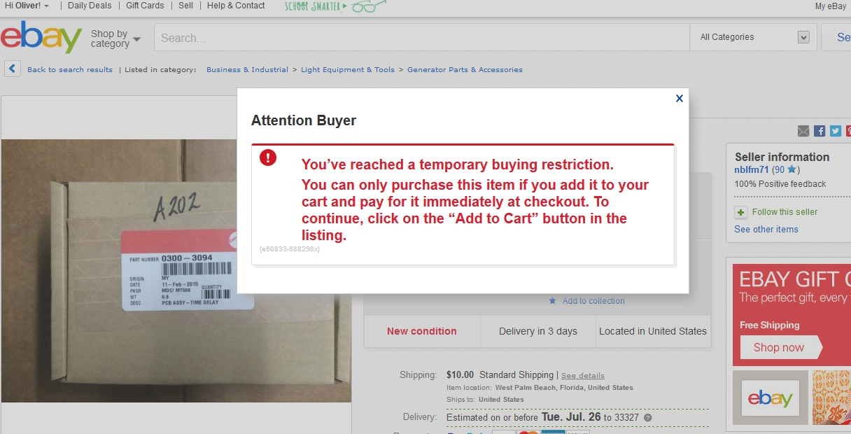 Question About Temporary Buying Restriction The Ebay Community