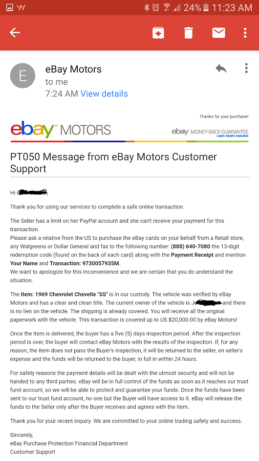 Possible Fraudulent Activity Questionable Payment The Ebay Community