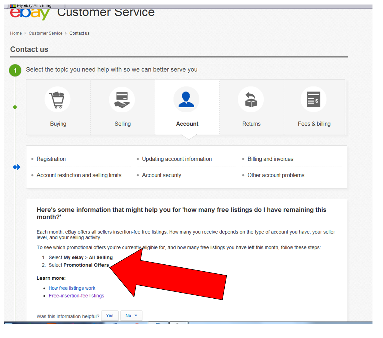 Solved No Listing Of Remaining Free Listings In Promotion The Ebay Community