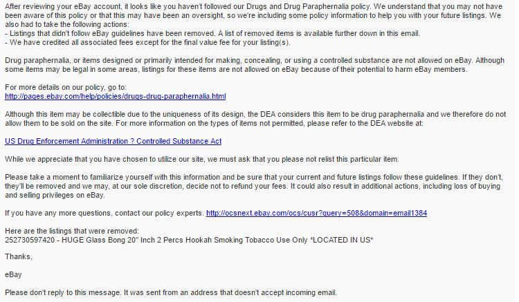 Solved Bong Water Pipe Listing Was Removed The Ebay Community