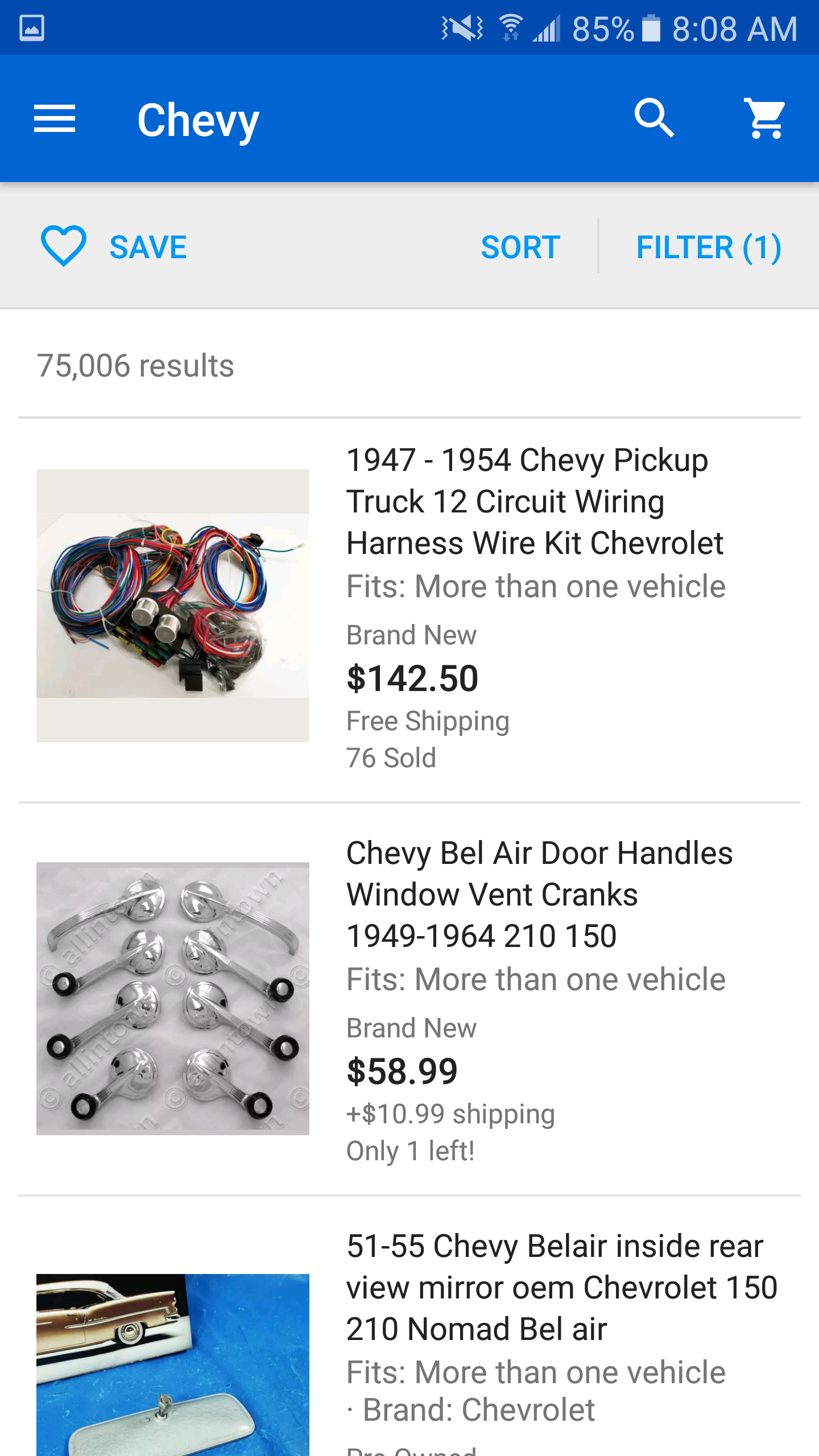 Filtering A Search Not Working The Ebay Community 1954 Chevy Truck Wiring Harness