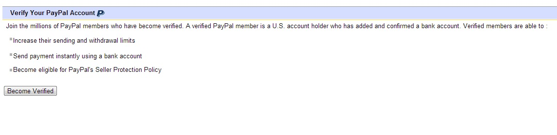 I have verified my PAYPAL account  But EBAY says P    - The eBay