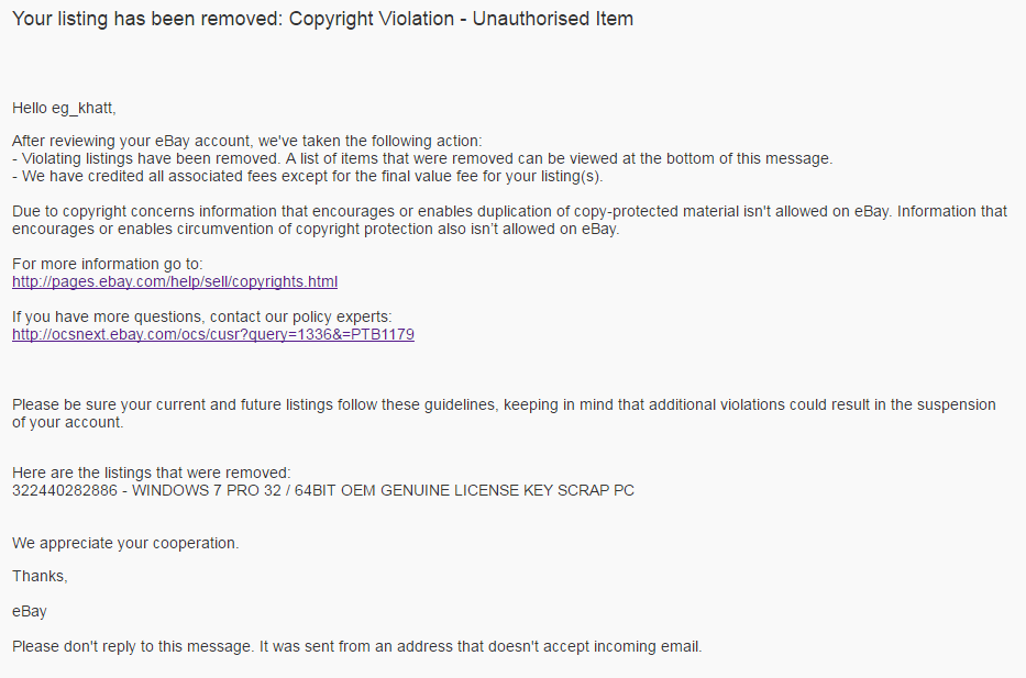 Solved: Your listing has been removed: Copyright Violation