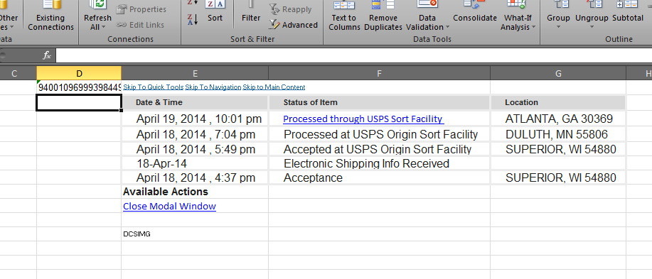 Creating an excel sheet for USPS Delivery Confirma    - The
