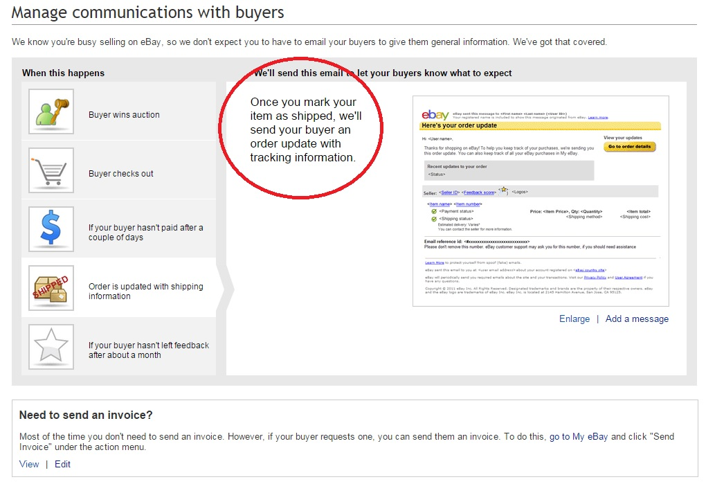 Solved How Do I Notify Buyer Of Shipping The EBay Community - Send invoice to buyer ebay