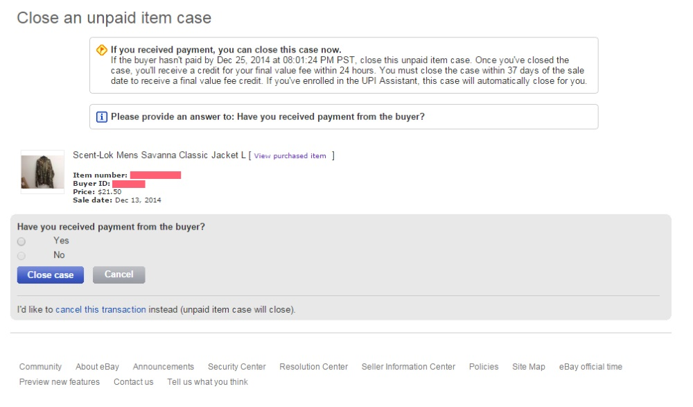 How To Remove A Bid On Ebay >> Cancel Transaction While Unpaid Item Case Open The Ebay