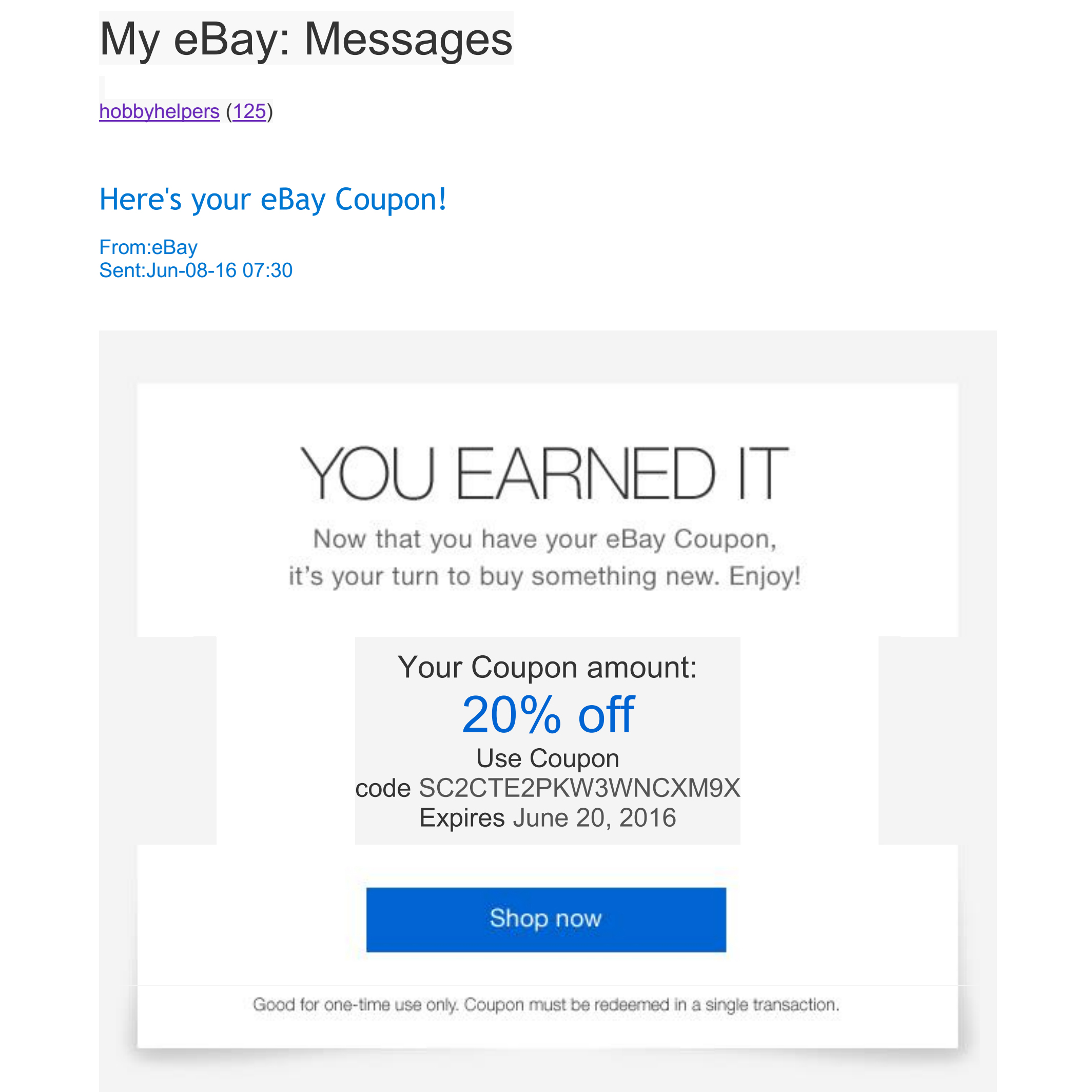 My 20 Off Ebay Coupon That I Earned By Selling Di The Ebay Community