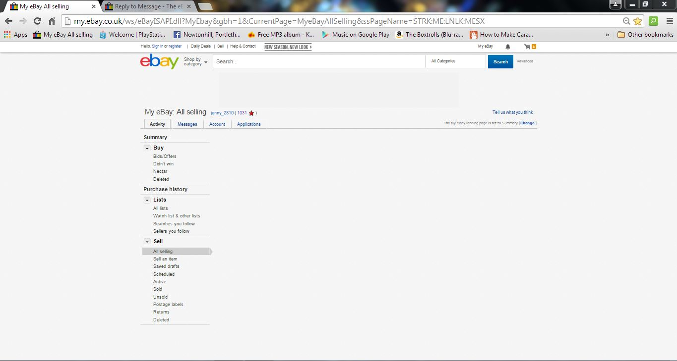 Ebay pages do not seem to be loading properly for     - The eBay
