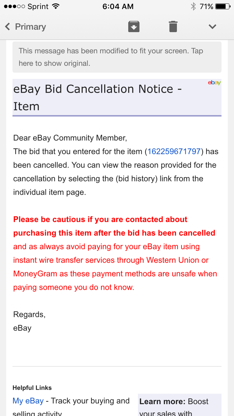 Solved Seller Retracted Cancelled My Bid The Ebay Community