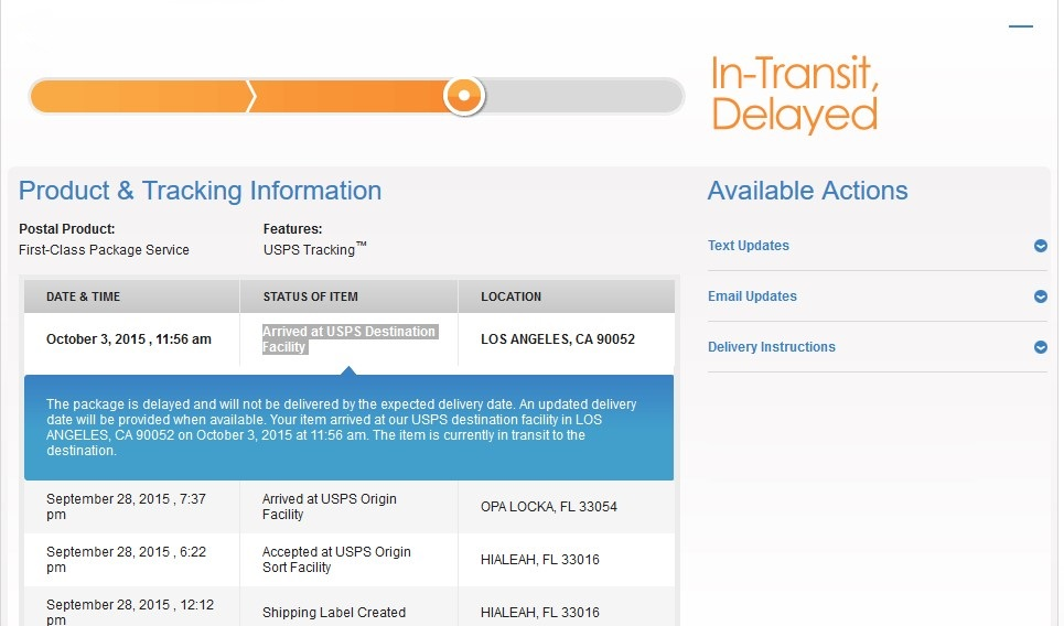 Anyone else getting delayed packages with usps page 8 the ebay community - Post office tracking item ...
