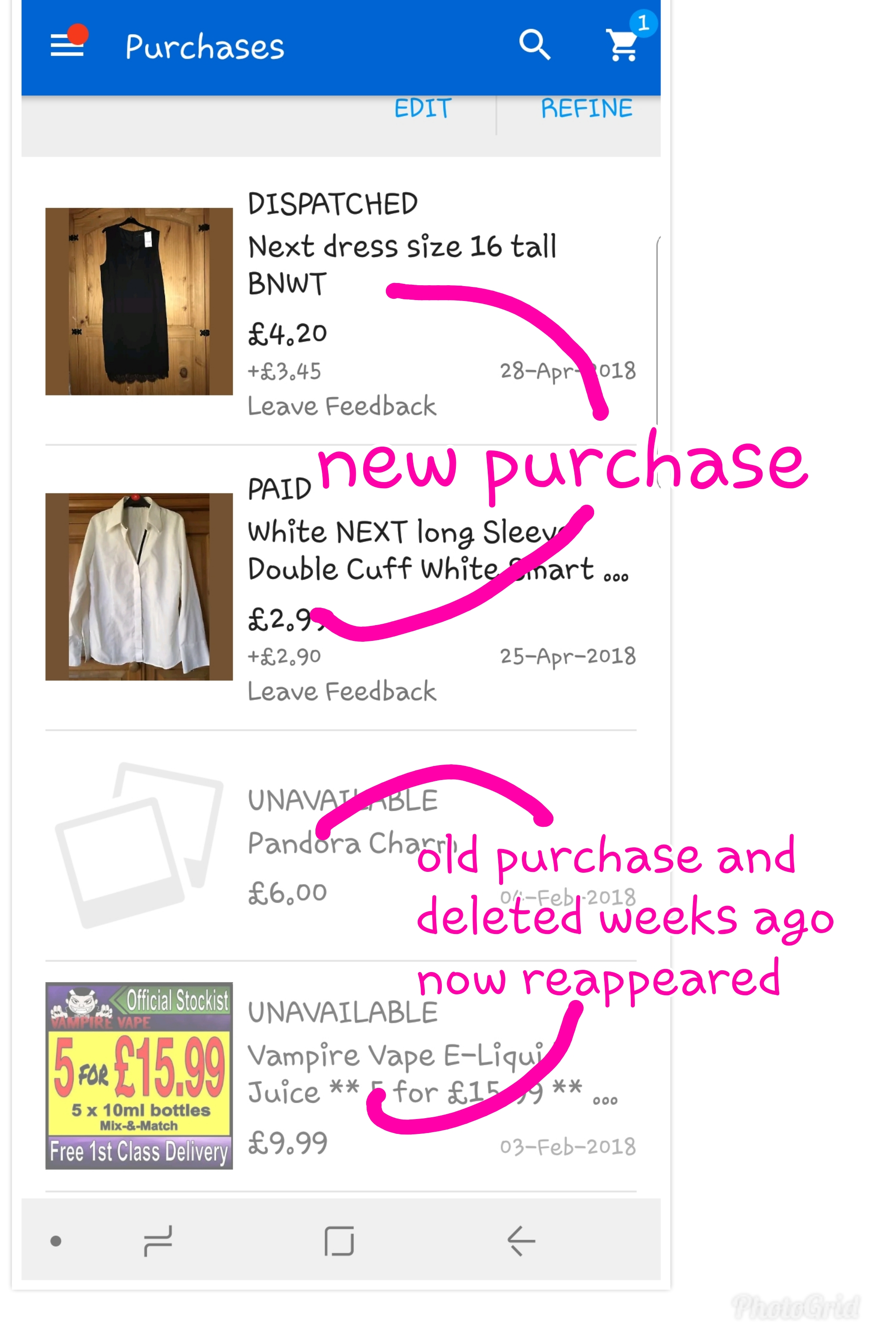 PURCHASES HISTORY SHOWING ALL PURCHASES EVER MADE - The eBay Community