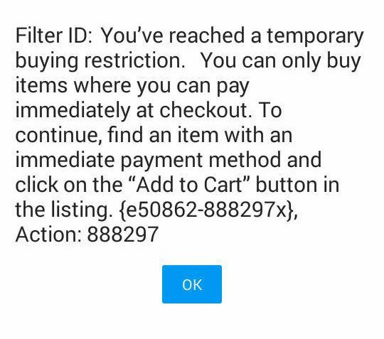 Temporary Buying Restrictions The Ebay Community