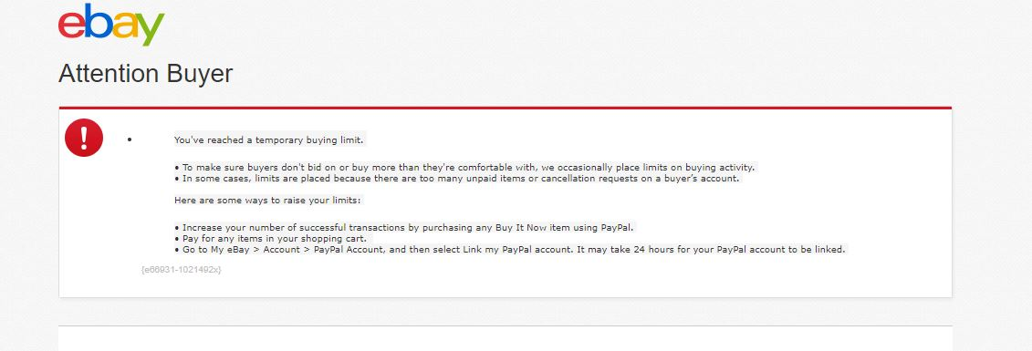 Just Go This Temporary Buyer Restriction Notice The Ebay Community