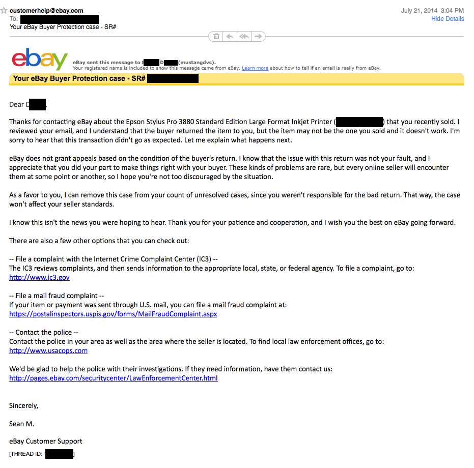 Snad Seller Now Claiming Fraud Ebay Sided With M The Ebay Community