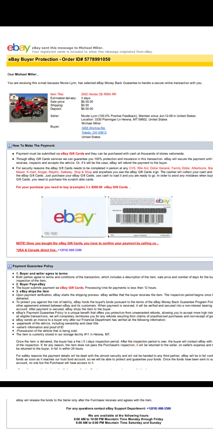 Buying A Motorcycle And Have To Use Giftcards The Ebay Community