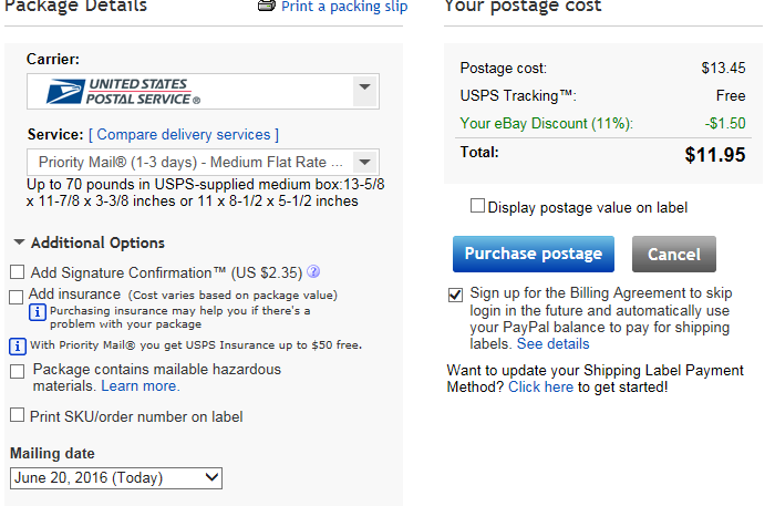 Solved: If I do the postage through ebay in a flat rate bo